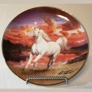 """The Mystical Diamond Unicorn"" collector plate"